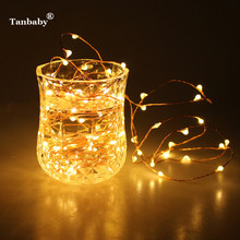 Tanbaby LED Garland 2M 20LED Battery Operated Copper Wire Christmas String Strip Flasher Fairy Light Wedding Curtain Luces Deco