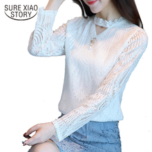 2017 new arrival autumn gauze blouse fashionable all-match woemn's long sleeved blouse women's tops lace shirt 669E 30