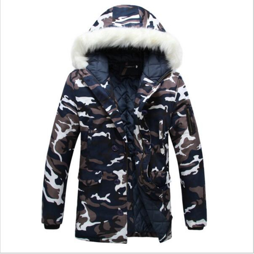 ФОТО 2017 Top Fashion Winter Mens Thicken Camo Jacket Coat Fur Hooded Cotton Padded Warm Outwear Male camouflage Parka S-2XL