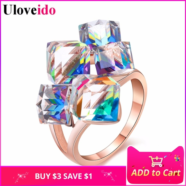 Uloveido Ladies Fashion Blue Engagement Rings for Women Luxury Vintage Cristales