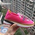 WEIMIAN Mujeres Transpirable zapatos casuales de Encaje Hasta zapatillas de diamantes de Imitación Zapatos de Plataforma de la Marca de Lujo Tejida cuerda de cáñamo estilo Sz 4-10