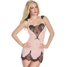 Sexy Camisole Pajamas Nighgown Black Eyelash Transparent Nightwear Women Sexy Lingerie Hot Sleepwear Sex Costumes Dress