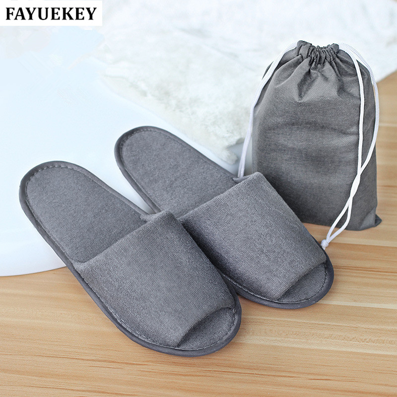 FAYUEKEY Men Travel Business Trip Hotel Club Portable Not Disposable Folding Slippers Boys Home Guest Slippers With Bag