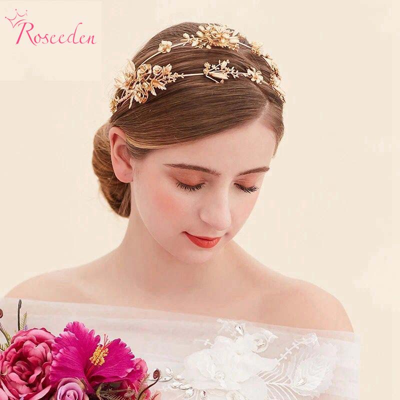 Double Band Gold Dragonfly Flowers Headband Baroque Style Bridal Wedding Tiaras Girls Party Accessories RE616 In Hair Jewelry From