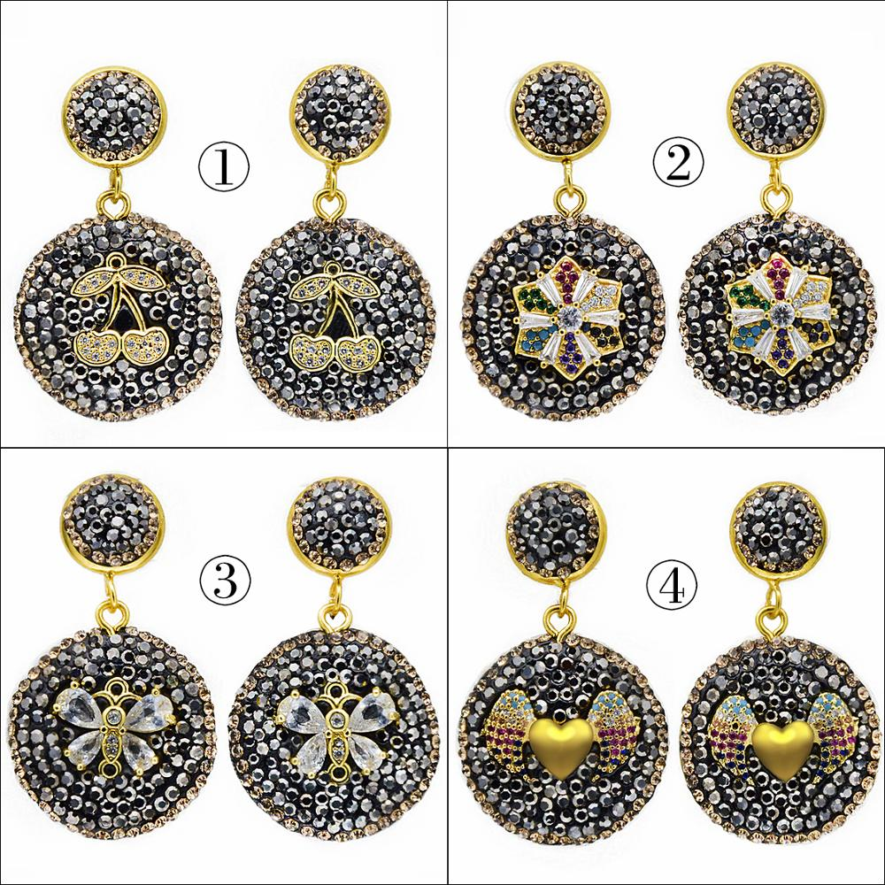 Handmade Jewelry Micro-inlaid Cubic Zircon Round Drop Earrings 2019 High Quality Geometry Shell Earrings Wedding Party EH0075