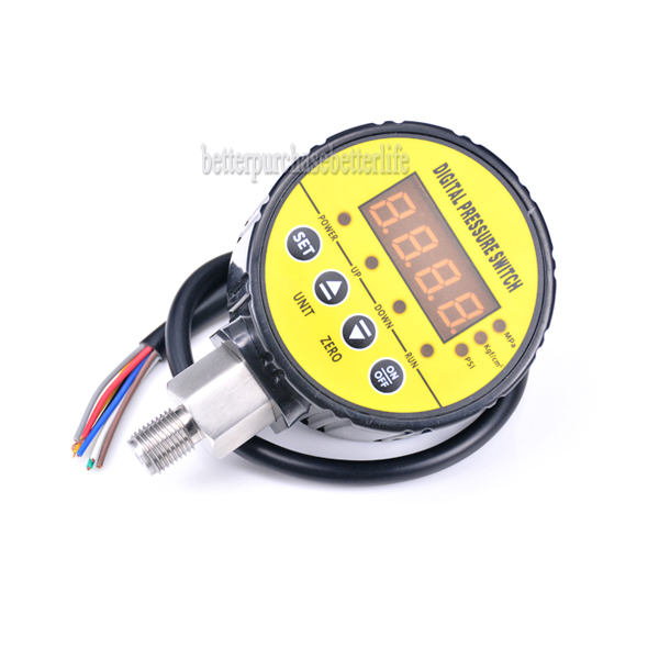 0-16bar(232psi) 240VAC G1/4 0.5% 2 Relay Output Digital Pressure Switch Two Alarm Point Output Hystersis Setting