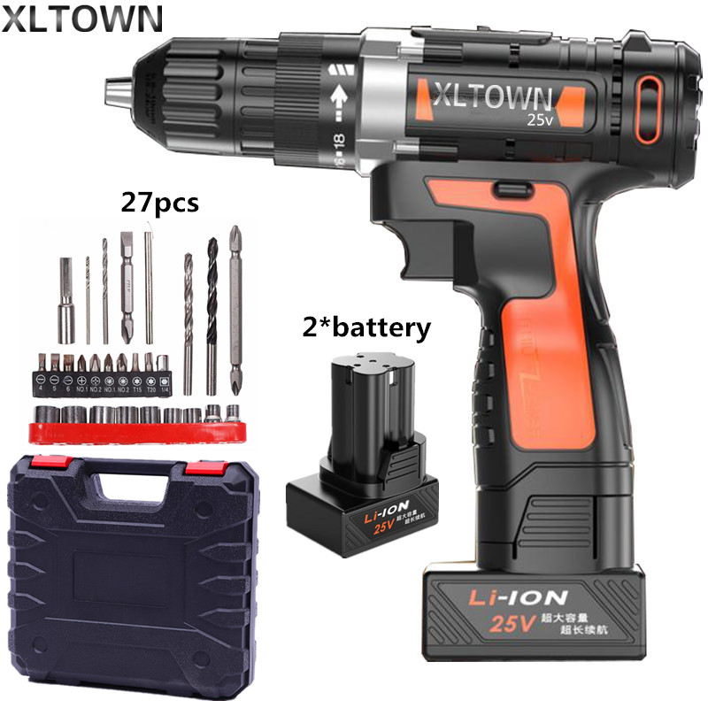 Xltown 25v two-speed lithium battery electric drill with 2 battery home Cordless electric screwdrivers high quality power tools xltown 25v 2000ma impact drill with bits