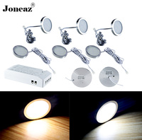 Led under cabinet light for closet kitchen wardrobe 110V 220V round SAA UK EU US plug 2 meter cable 2W 1 set lamp Joneaz