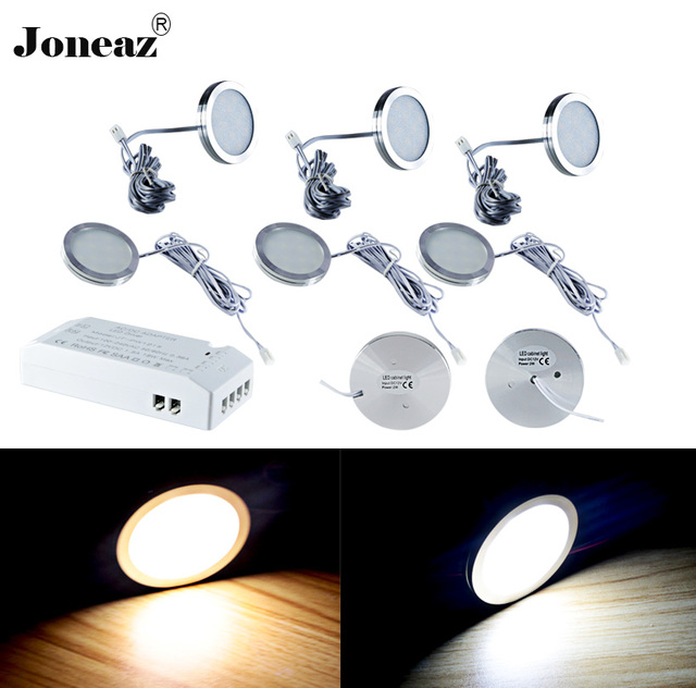 Led under cabinet light for closet kitchen wardrobe 110V 220V round SAA UK EU US plug 2 meter cable 2W 1 set lamp Joneaz