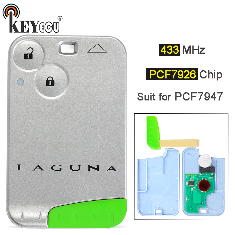 KEYECU  433MHz ID46 (PCF7926) Chip PCF7947 2 Button Smart Key Card Remote Car Key Fob For Renault Laguna Espace Vel-Satis