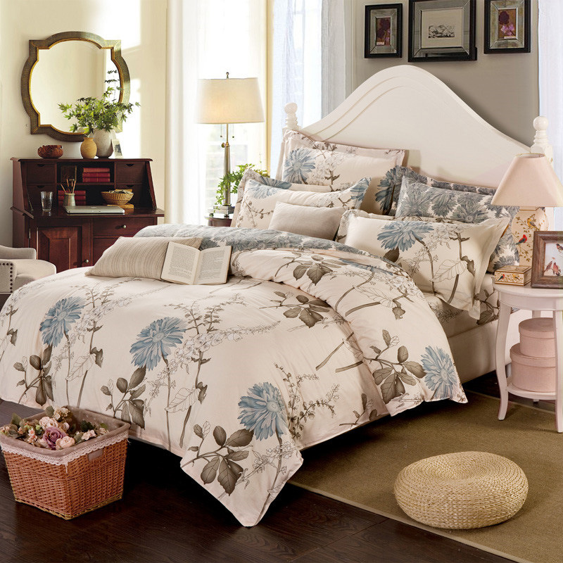 Pastoral Style Beauty Floral Duvet Cover Single Double Bed Polyester Bedding Cover Twin Full Queen Size Bed Cover XF348-37