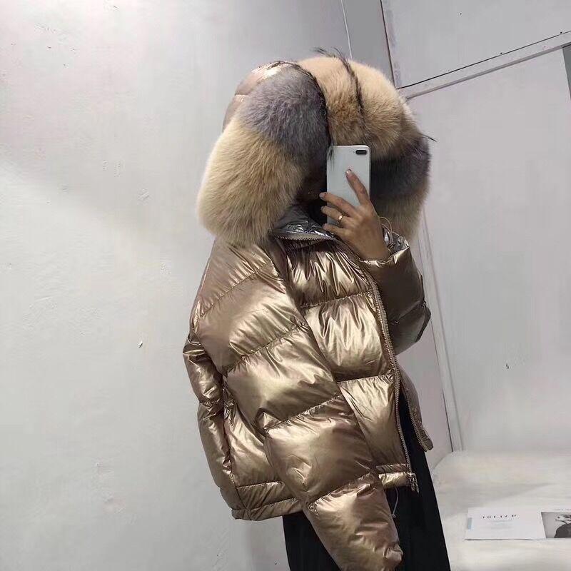 noir Blanc Manteau Col Lâche Canard 2018 Fourrure Beige De bleu Naturel Duvet D'hiver Vêtements Court Ruban Véritable Veste Femmes Coréenne Renard xzqtHOS
