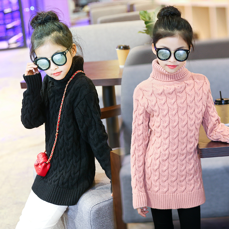 high neck red white long sweater girls sweaters children