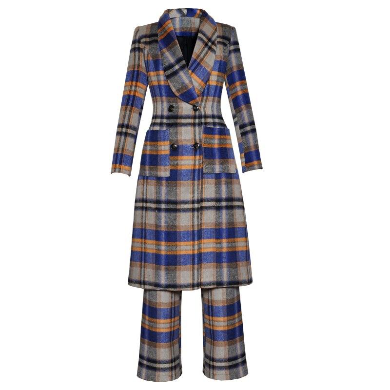 Offre spéciale femmes Plaid laine manteau mode Double boutonnage hiver chaud manteau avec pantalon K1030