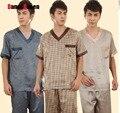 Emulação de seda dos homens de manga Curta conjuntos de pijama 4 tipos dos homens x/xl/xxl/xxxl roupa interior dos homens de emulação seda pijamas de manga curta