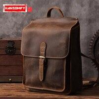 Элитный бренд ретро art первый слой из воловьей кожи сумка ковбой Для мужчин рюкзаки школьные ветра повседневная кожаная Для мужчин vintage рюкз