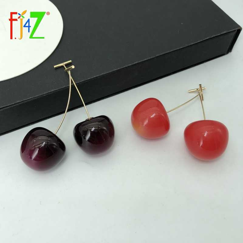 F.J4Z Hot Sweet Cherry Earrings for Women Cute Vivi Resin Acrylic Cherry Drop Earring DropShipping  Wholesale