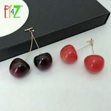 F.J4Z Hot Sweet Cherry Earrings for Women Cute Vivi Resin Acrylic Drop Earring DropShipping  Wholesale