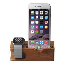 Universal Wood Bamboo Charging Stand Mounts Holder Bracket Dock Charge Station Desktop For Apple Watch  Mobile Phone iphone 6 i6