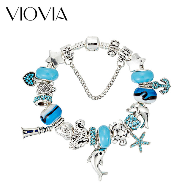 Viovia 2017 New Style Dolphin Charm Bracelet Bangles For Women Blue Murano Gl Beads Starfish