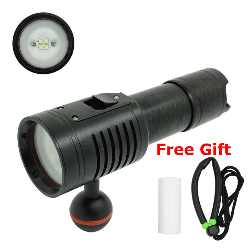 LED Diving Flashlight Underwater Video Photography Dive Torch 4*XP-G2 White+2*XPE Red Light 18650/26650 Photo Scuba Flashlights archon d26vr 2000 lumen white and red led scuba diving underwater photography video light