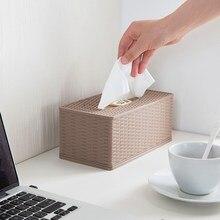Бамбуковый Плетеный пластиковый тканевый ящик для домашнего рабочего стола многофункциональный лоток креативный журнальный столик для гостиной коробка для хранения салфеток XI315959