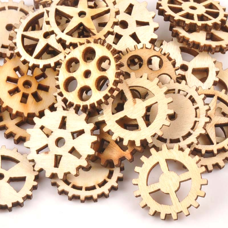 50Pcs 24mm Natural Unfinished Wooden Wheel Gear Shape For Handmade DIY Crafts Wood Slices Ornament Scrapbooking Home Decor M1683