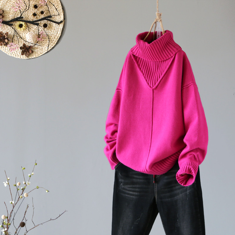 2019 Winter New Turtleneck Women Sweaters And Pullovers Hot Pink Loose Thicken Warm Lady Pulls All Match Outwear Coat Tops