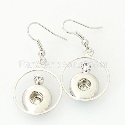 HOT sale DIY fashion earring snaps button metal earrings for snap jewelry fit 12mm small ginger snaps buttons charm KB0352-S