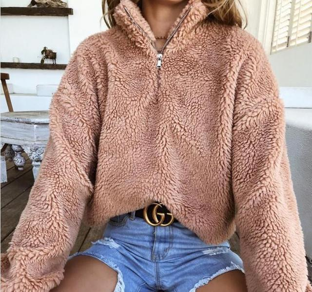 2018 Oversize Casual Solid Lapel Zipper Long Sleeve Loose Plush Fluffy Sweatshirt Womens Clothing Winter Warm Fleece Pullover by Ydtomm