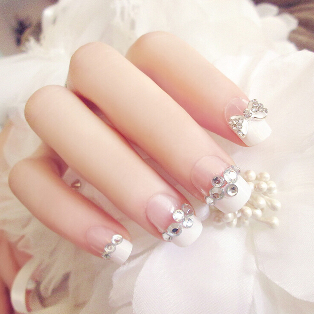 24 Pcs Artificial Full False Nails French Tips Fake With Glue Bowknot Rhinestone Wedding Nail Art In From Beauty Health On