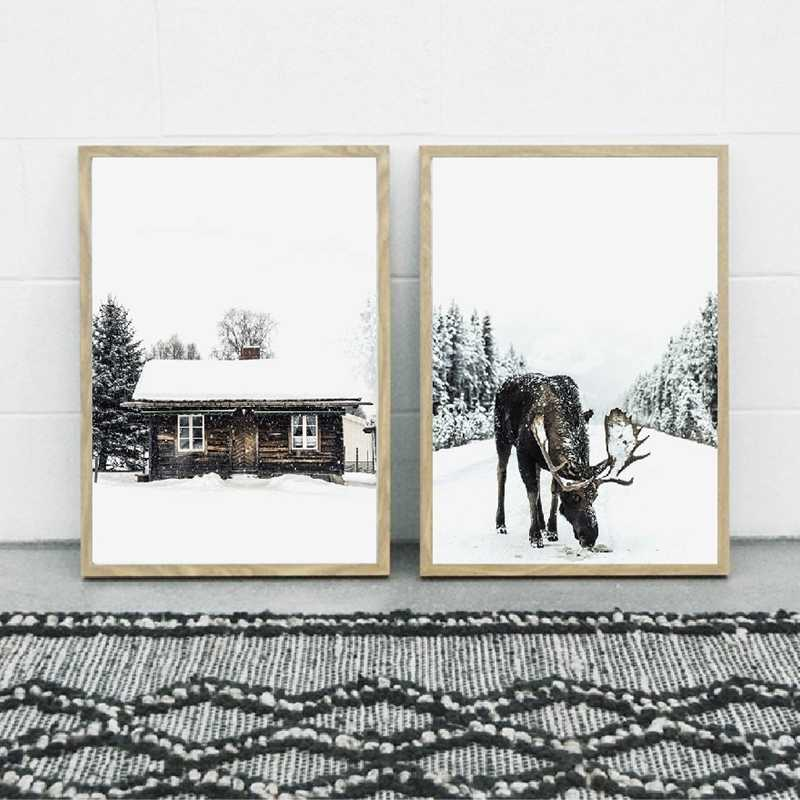 Winter Wald Elch Weihnachten Wand Kunst Leinwand Poster Druck Schnee Bäume Wald Malerei Winter Fotografie Bild Home Room Decor