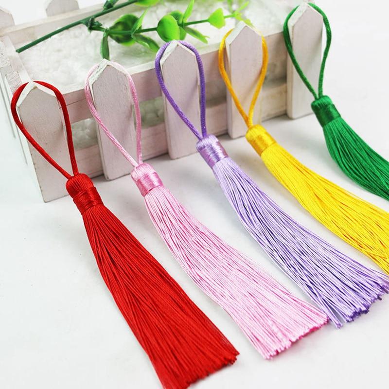 12pcs/lot 12cm Pure color tassel silk fringe sewing bang trim decorative pendant tassels for curtain home decoration accessories
