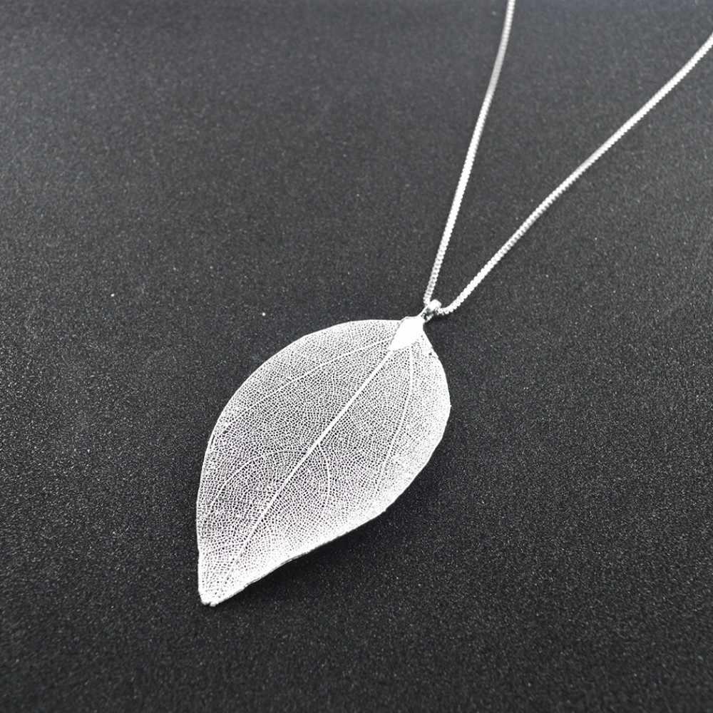 QIAMNI Charming Gold สี Big Leaf สร้อยคอจี้สำหรับสตรียาวใบ Choker Charm ผู้หญิงเครื่องประดับงานแต่งงาน