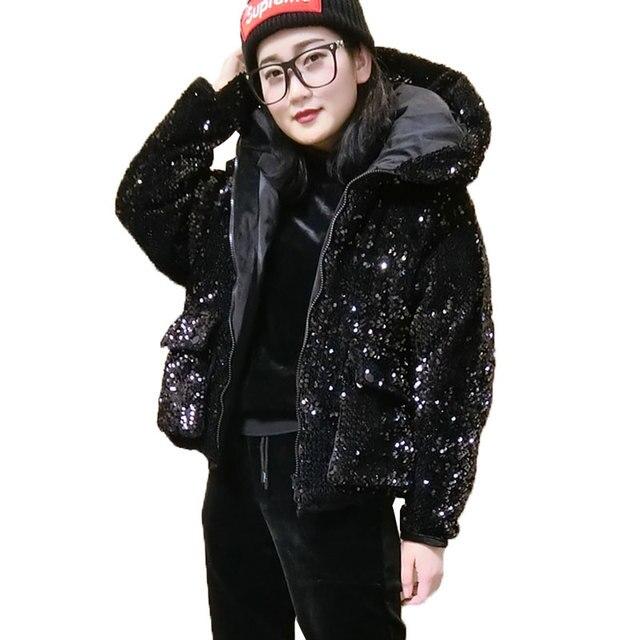 Lentejuelas básicos abrigos de invierno chaqueta mujeres corta Parkas 2018  cálido con capucha de algodón chaquetas 4250c7822631