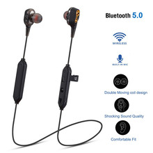 HIFI Wirless Bluetooth 5.0 Heavy Bass earphone Dual Dynamic Driver TF Card Earphone sport running in earphone#Y2Q