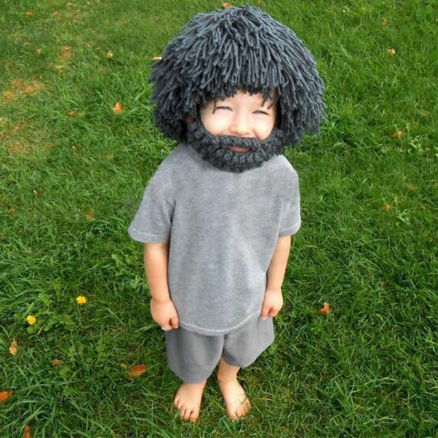 Funny hat Wig beard Hand knitted wool hat beard beard grass Child Funny  creative hip-hop hat wacky ideas long straw hat H004 9d9da5a2d66