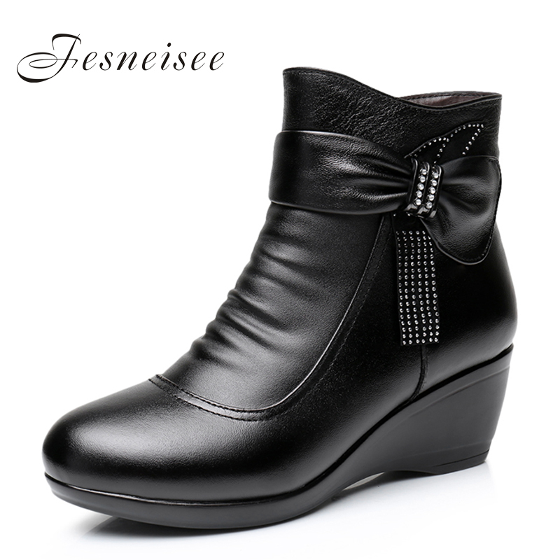 New 2017 Women Boots women Genuine Leather Winter Boots Warm Plush Autumn Shoes Winter Wedge Shoes Woman Ankle Boots Size 34-43 plus size 34 43 new fashion autumn winter boots women classic zip ankle boots warm plush leather casual martin boots women shoes
