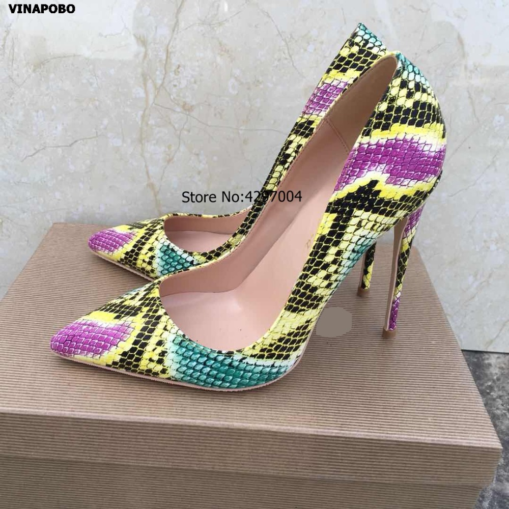 vinapobo woman sexy pumps yellow snake print Pointed Toe thin high heel shoes 2019 fashion women