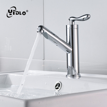 Купить с кэшбэком Brass Faucet 360 Degree Cold Water Faucet Pull Out Silver Torneira PiaBanheiro Water Filter Outlet Bathroom Shower Faucet B25