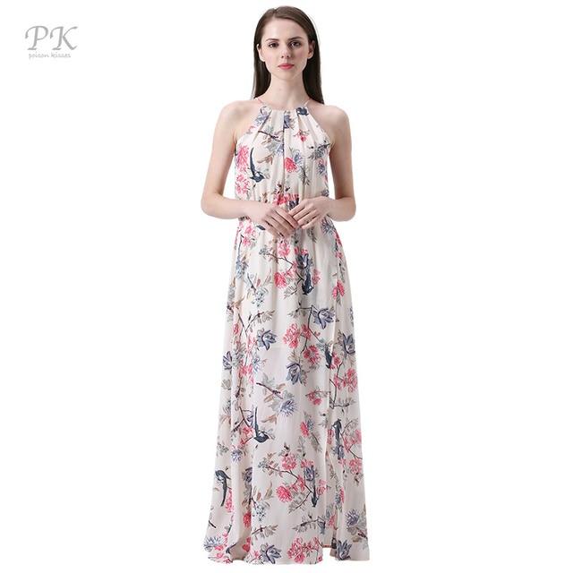 PK floral print summer maxi beach dresses party collar sexy club sundress imported-china summer 2017 chiffon female women dress