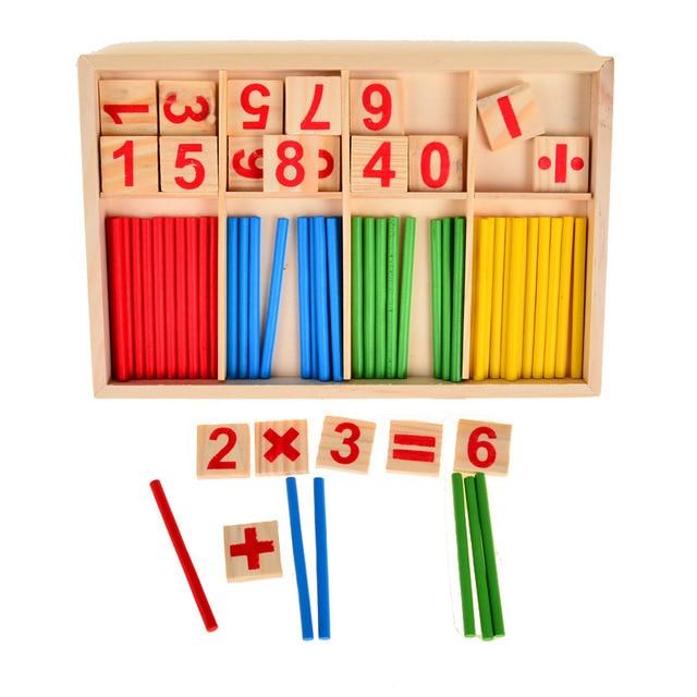 Conteo Palos caja Montessori Número de madera matemáticas teaching AIDS materiales del Juego juguete educativo