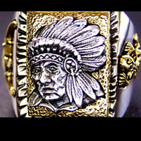 925 старый серебряных серебряное кольцо палец модный индейских вождей открытым мужские кольца taiyin личности