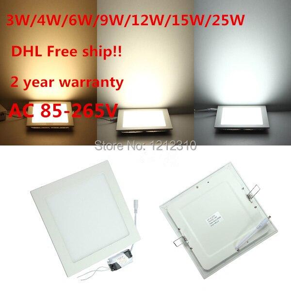 DHL Бесплатная доставка 20 шт./лот Ультра тонкий дизайн 25 Вт AC85-265V светодиодный потолочный встраиваемый светильник/тонкая квадратная панель