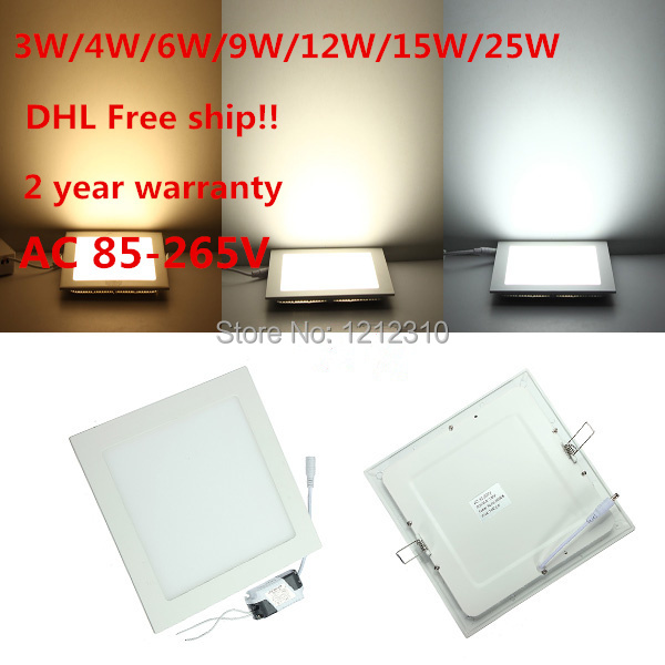 DHL Autonomous shipping 20pcs/lot Ultra thin chart 25W AC85-265V LED ceiling recessed grid downlight / slim fair and square panel light.