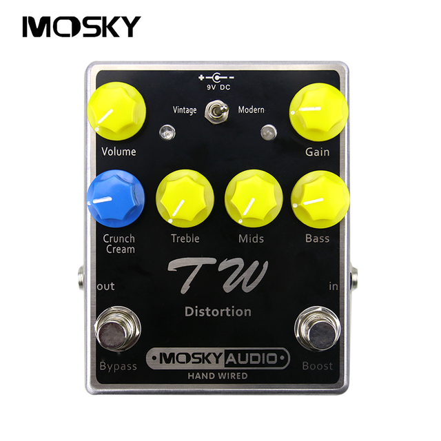 MOSKY TW DISTORTION High Quality Capacitors, Resistors, IC Guitar Effect Pedal With Three Band EQ