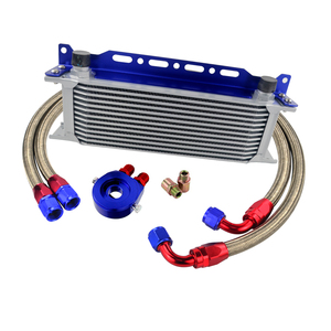 Image 4 - UNIVERSAL 13 ROWS OIL COOLER+OIL FILTER SANDWICH ADAPTER + STAINLESS STEEL BRAIDED AN10 HOSE + Oil Cooler Mounting Bracket