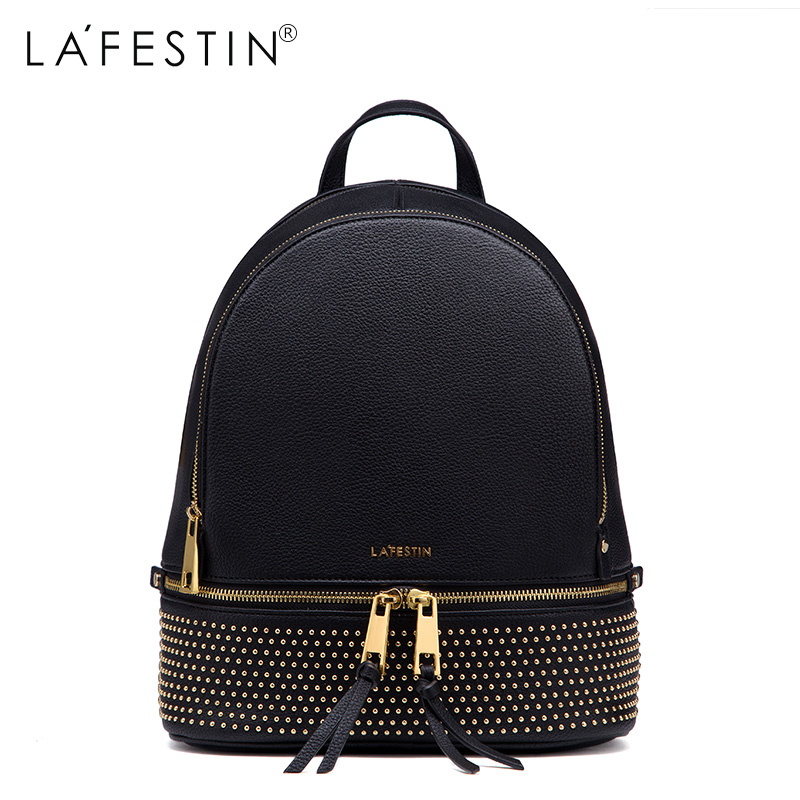 LAFESTIN Fashion Rivet Backpack Women Casual Versatile Solid Backpack Girls School Bags Backpack Mochilas