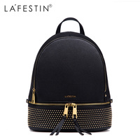 LAFESTIN Rivet Leather Backpack Women Casual Bags Versatile Solid Backpack Girls School Bags Real Leather Backpack