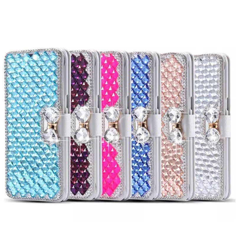 For LG Aristo 2/Tribute Dynasty/REBEL 3 case,Diamond Bowknot Shiny Crystal Rhinestone Purse wallet Leather Card Slot Pouch